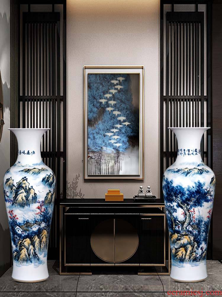 Jingdezhen ceramics hand - made scenery figure of large vase of blue and white porcelain hotel decoration furnishing articles large living room