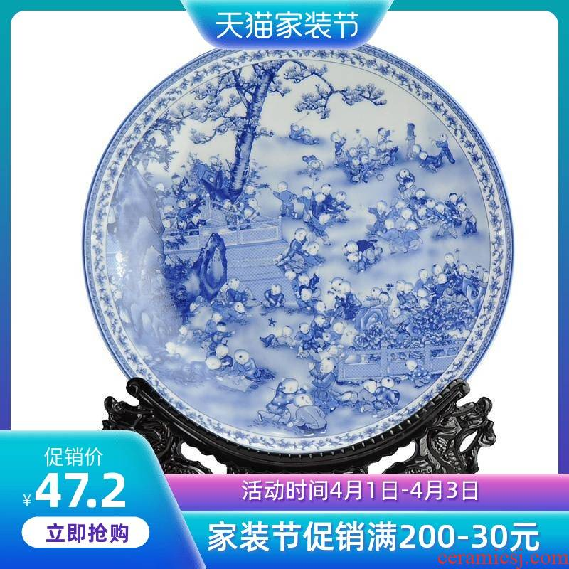 Blue and white porcelain of jingdezhen ceramics decoration plate disk furnishing articles art porcelain porcelain painting hanging dish