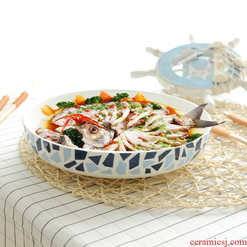 Dishes home outfit soup plate deep dish ipads porcelain egg tray steamed water creative move Nordic steamed fish dish ceramic plate