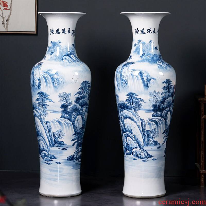 Jingdezhen blue and white tail hand - made ceramics has a long history of large vase sitting room hotel decoration furnishing articles