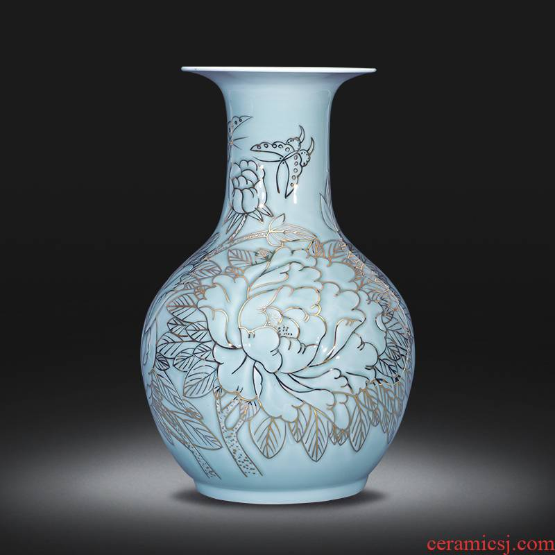 The see colour design of jingdezhen ceramics blooming flowers, hand - made vases furnishing articles of Chinese style porch sitting room adornment