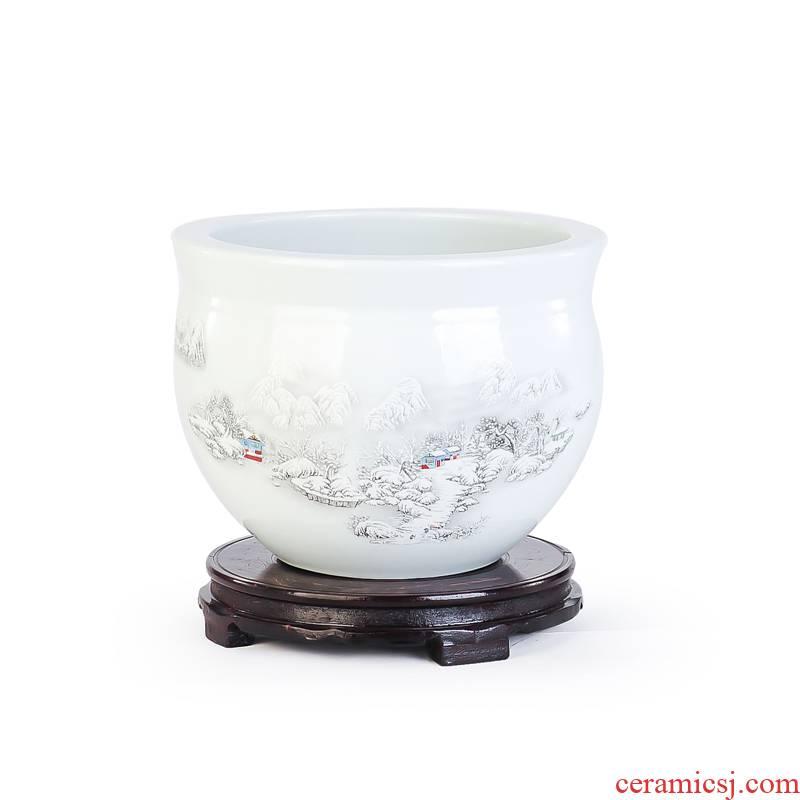 Yg3 jingdezhen ceramic snow little gold fish tank water lily bowl lotus cylinder tortoise raise a flower pot fish bowl