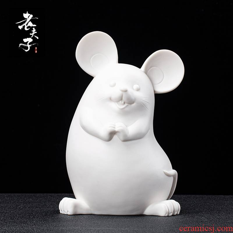 Dehua biscuit firing porcelain zodiac mouse desktop furnishing articles ceramic household act the role ofing is tasted, the sitting room art creative gifts