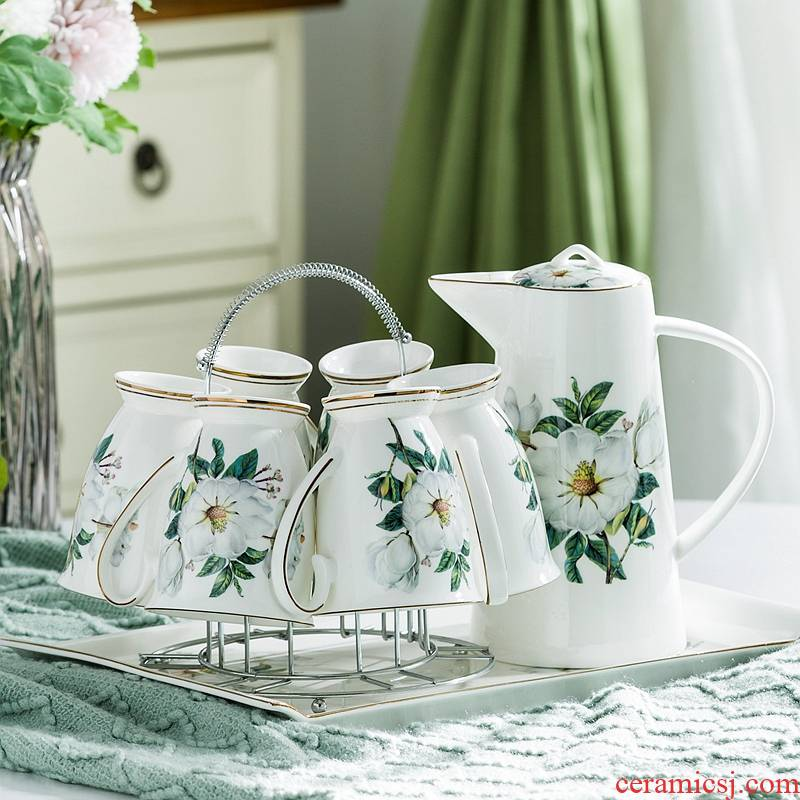 Glass ceramic household modern creative cup of cold water cup pot sitting room European cup set 6 tea sets