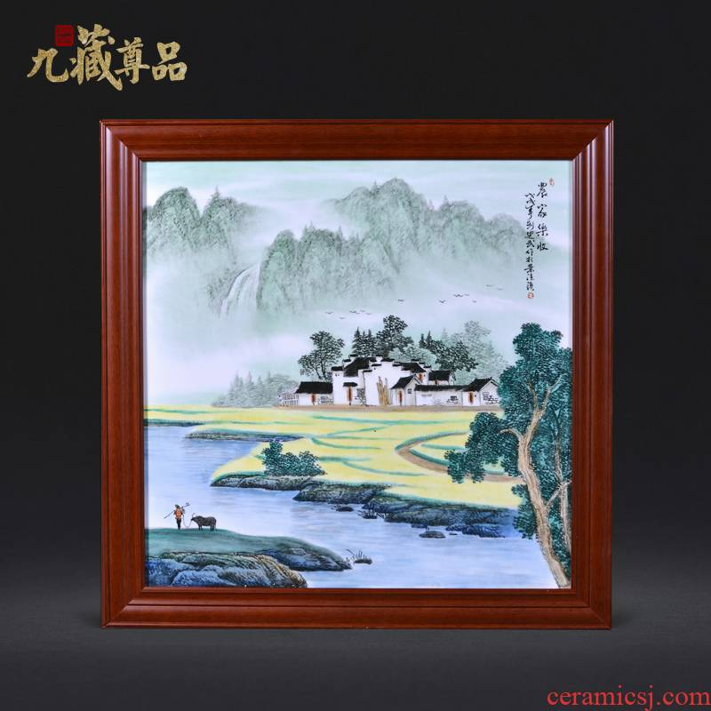 Jingdezhen ceramics Liu Shuwu hand - made farmhouse adornment porcelain plate paintings of Chinese style household crafts