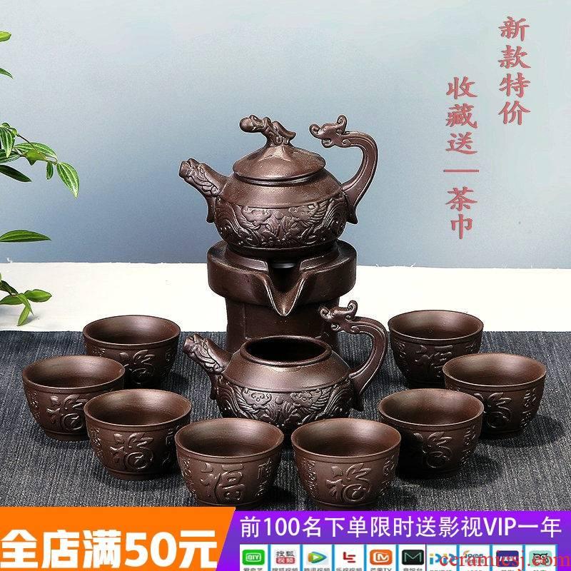 Stone ground tea purple sand tea set automatic tea sets ceramic lazy all semi - automatic zisha teapot tea