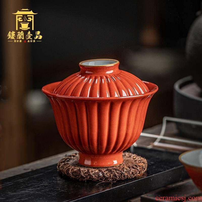 Jingdezhen ceramic old alum red principal royal acknowledged by petals tureen single CPU kung fu tea bowl of tea set