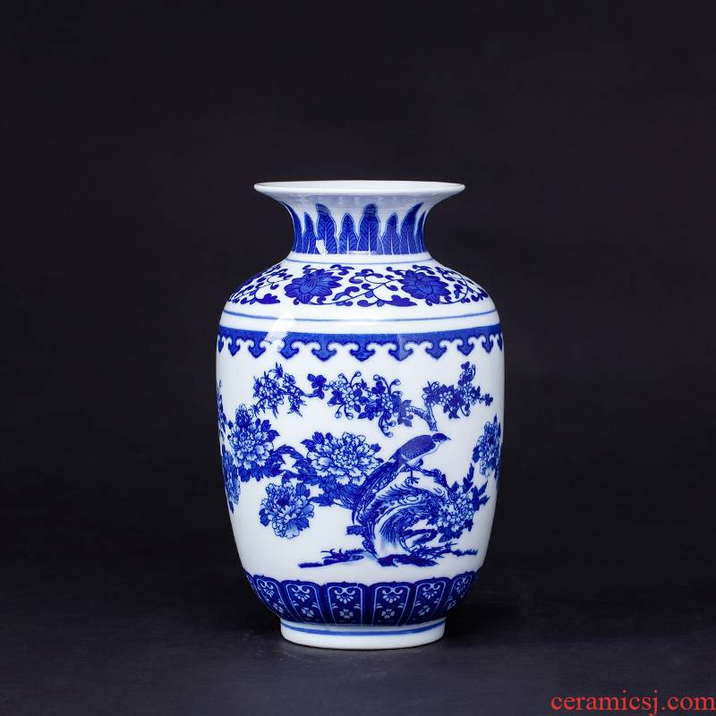 Antique vase of blue and white porcelain of jingdezhen ceramics furnishing articles of Chinese style living room porch flower arranging home decoration arts and crafts