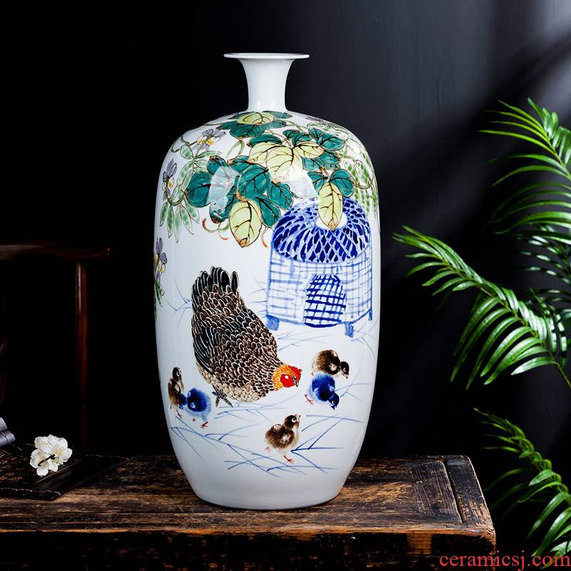 Jingdezhen ceramics hand - made enamel vase large living room TV cabinet decoration of Chinese style household furnishing articles bottle