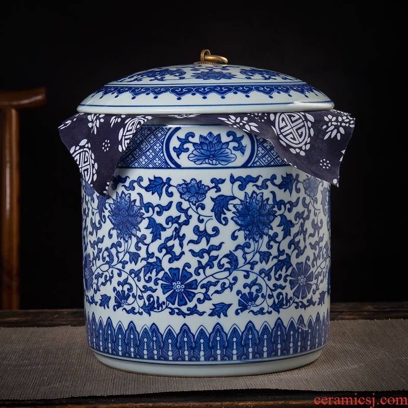 Jingdezhen ceramic blue seal tea caddy fixings receive a storage jar household adornment is placed a gift