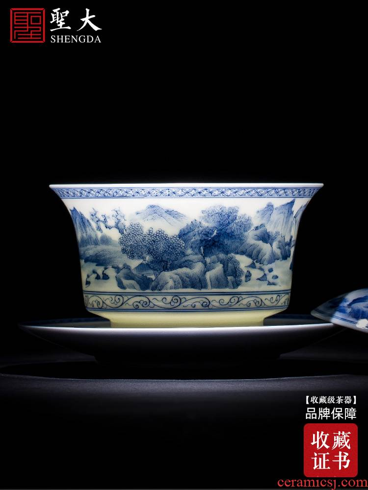 The big three to make tea tureen teacups hand - made scenery of blue and white porcelain ceramic bowl full manual jingdezhen kung fu tea set