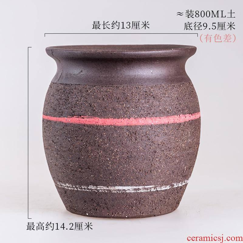Fleshy flowerpot rose through pockets tao meaty plant pot small purple ceramic large flower pot, creative wholesale