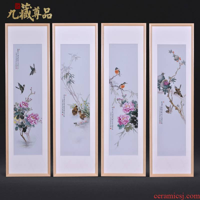 Jingdezhen ceramics dong - Ming li hand - made painting of flowers and four screen porcelain plate painting the sitting room adornment household furnishing articles