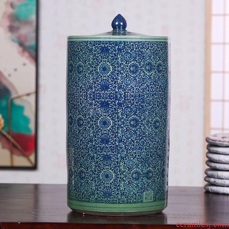 Retro caddy fixings large coarse ceramic tea urn tea barrel wake of bread seven pu 'er tea ware ricer box cylinder storage POTS