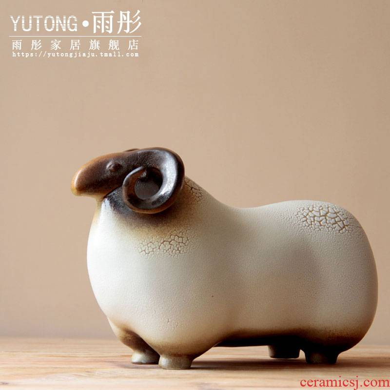 The rain tong home | jingdezhen ceramics up clay porcelain its creative home furnishing articles of Chinese zodiac sheep sitting room adornment