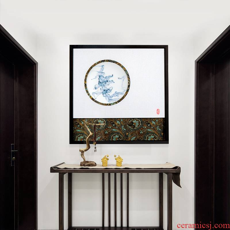 Jingdezhen ceramic painting pure hand draw new Chinese style household porcelain plate with box painter in the sitting room porch decoration paintings