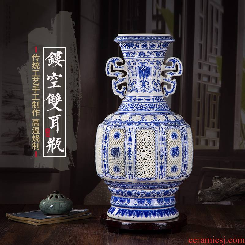 306 large jingdezhen ceramic vase ivory thin tire hollow out blue and white porcelain vases, modern home decoration