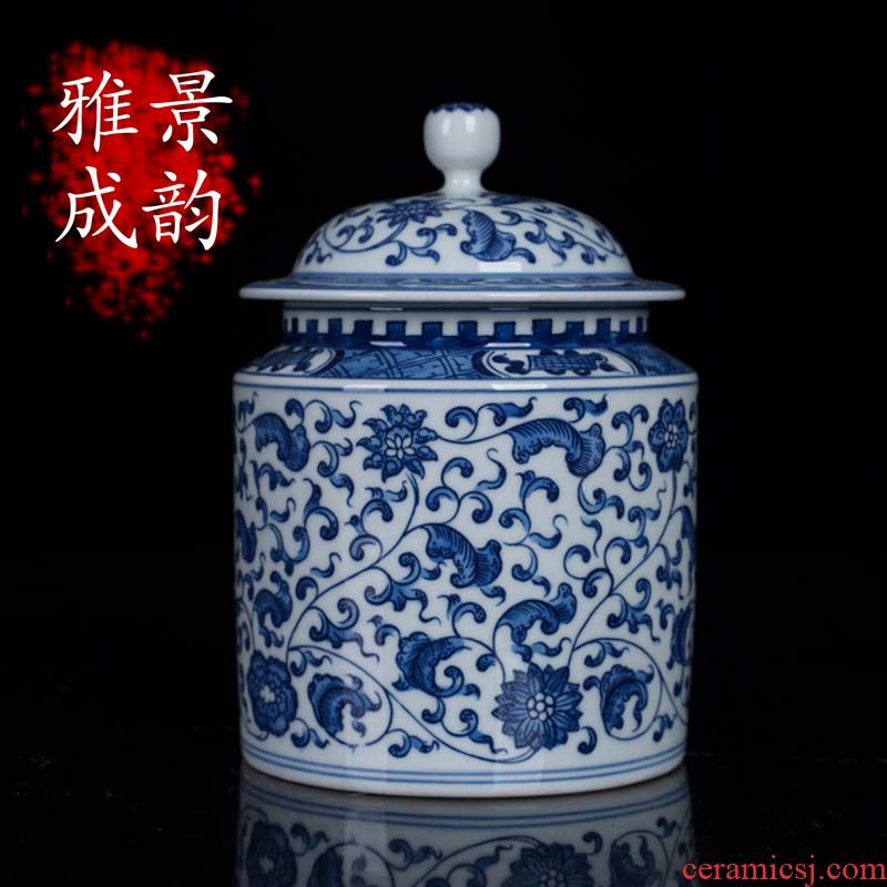 Blue and white porcelain of jingdezhen ceramics bound lotus flower tea pot large cake puer tea loose tea storage tank, the seventh, peulthai the furnishing articles
