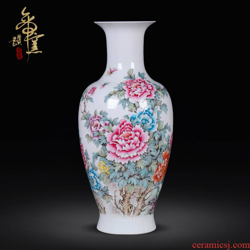 The Master of jingdezhen ceramic hand - made of high - grade famille rose porcelain furnishing articles blooming flowers antique vase decoration art