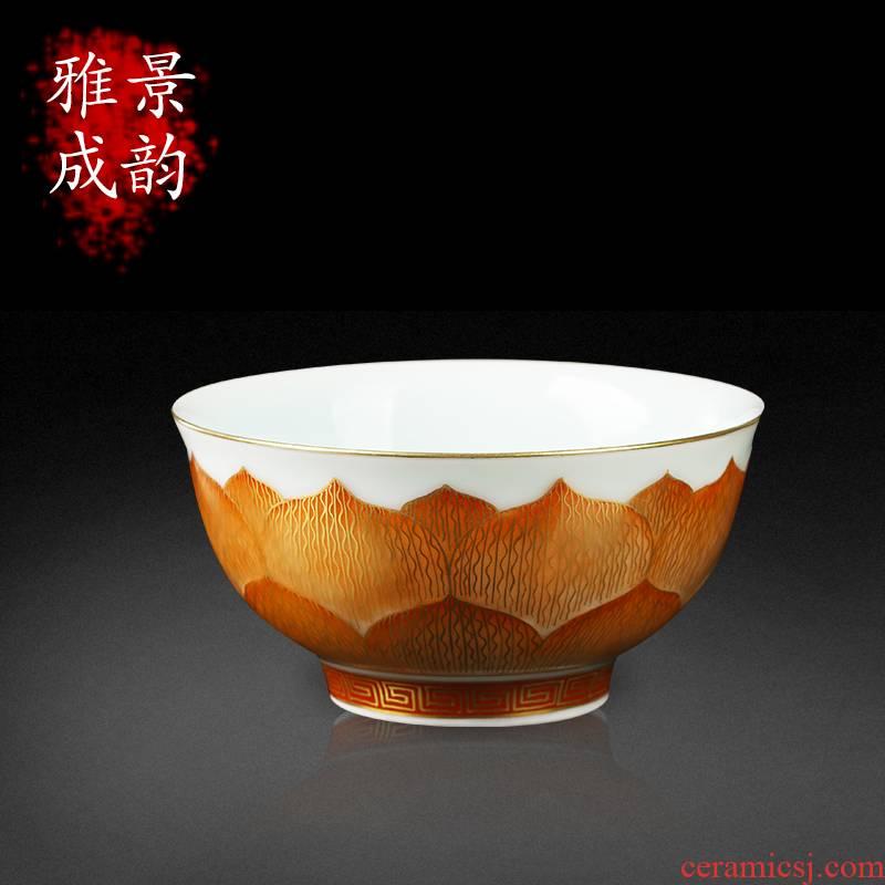 Jingdezhen ceramic decoration paint lotus bowl place to live in rich ancient frame porch teahouse porcelain arts and crafts