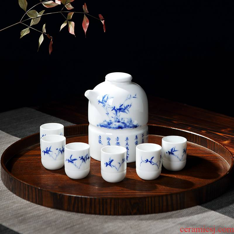 DH Chinese blue and white porcelain is jingdezhen ceramics Japanese household liquor wine suit household glass archaize little glass