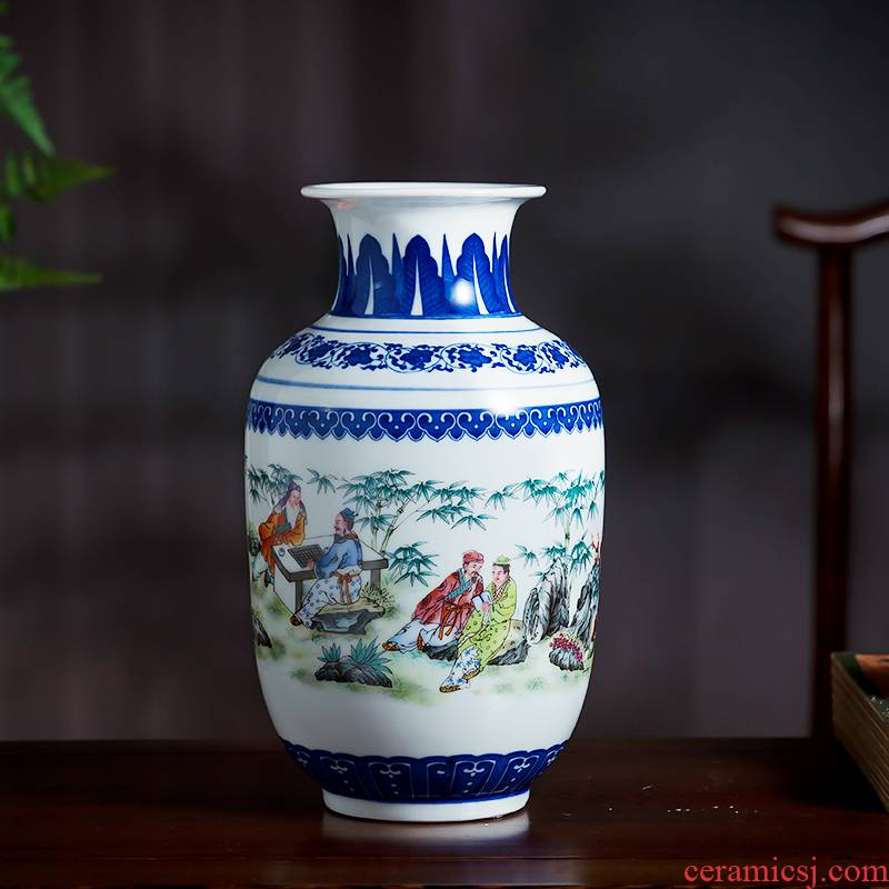 Jingdezhen ceramics bucket color blue and white porcelain vases, flower arrangement of Chinese style living room home decoration rich ancient frame furnishing articles
