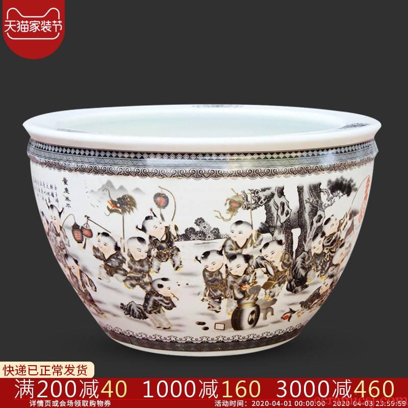 Yg20 jingdezhen ceramics aquarium goldfish turtle cylinder large water lily lotus basin to breed fish bowl large extra large