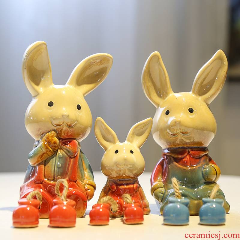 Happy rabbit outseam ceramics doll, decorative home furnishing articles indoor table sitting room office decoration creative gift