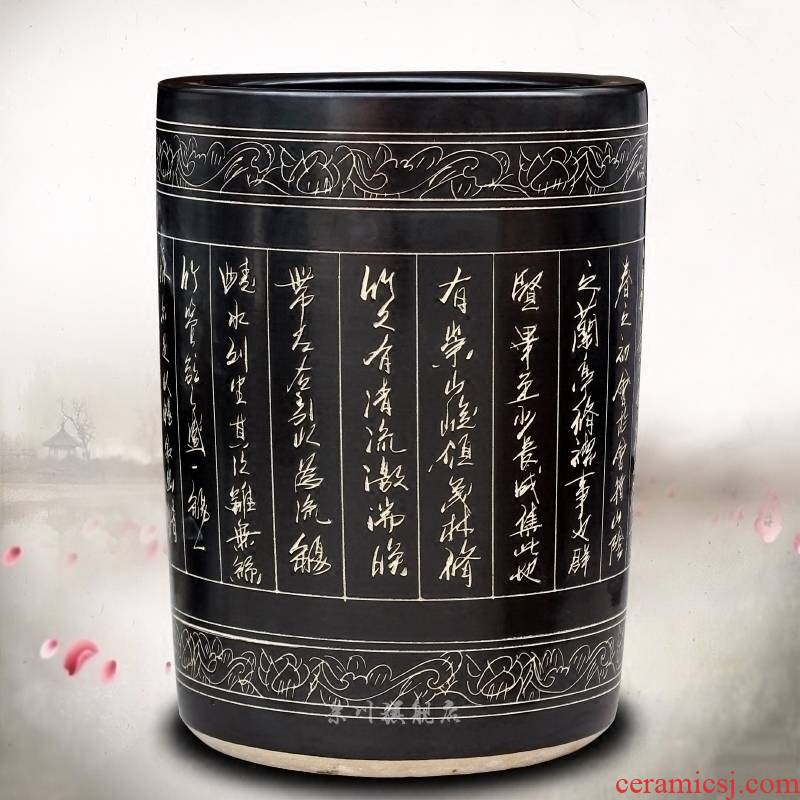 Jingdezhen ceramic quiver carved poems calligraphy and painting scroll painting and calligraphy cylinder receive product sitting room of Chinese style household furnishing articles