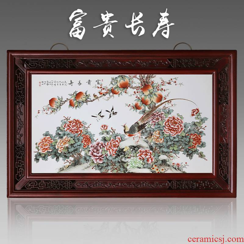 Jingdezhen ceramic central scroll the sitting room porch decoration to the hotel the peony Chinese box setting wall hangs a picture decorative porcelain plate painting