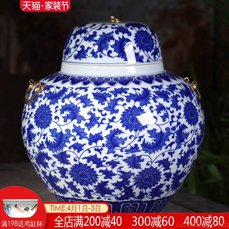 Blue and white porcelain of jingdezhen ceramics storage tank with cover creative new Chinese style home furnishing articles large living room