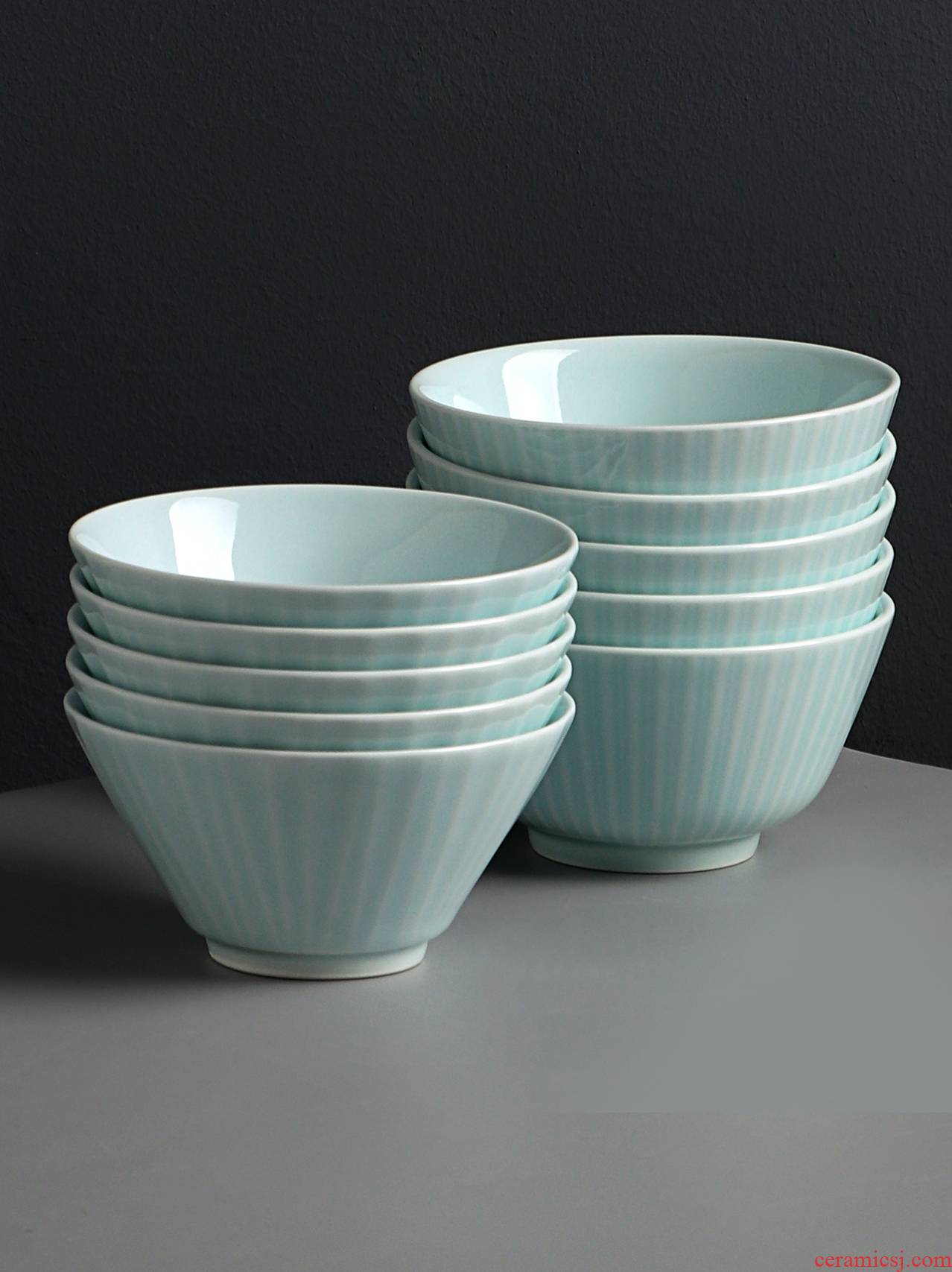 Jingdezhen shadow celadon bowls of Chinese style household tableware to eat bread and butter rice bowls a single creative ceramic bowls hat to bowl