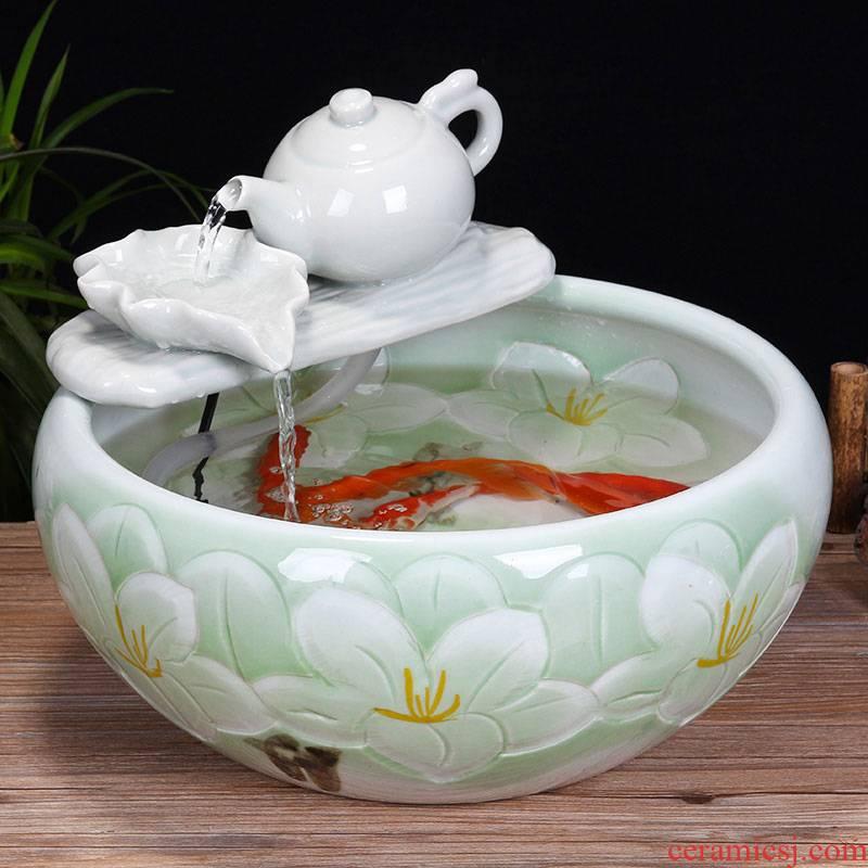 Jingdezhen ceramic aquarium desktop fountain water tank 2 small gold sitting room aquarium fish bowl