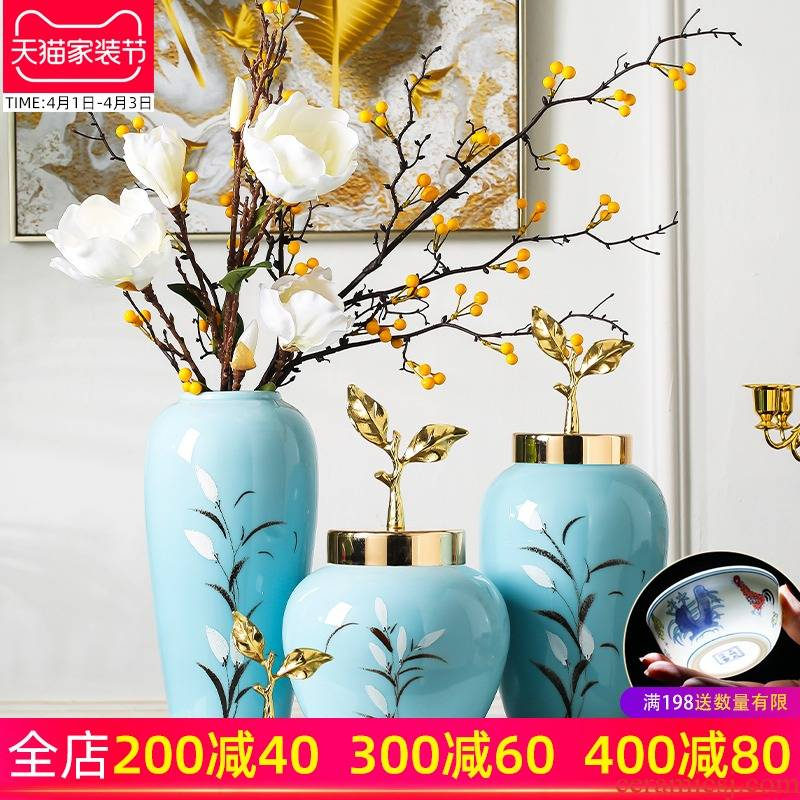 Jingdezhen ceramics simulation flower flower arranging flower bottle furnishing articles, the sitting room porch ark is contracted and I household adornment