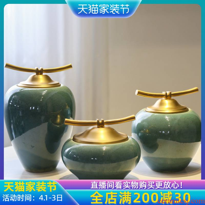 Jingdezhen new Chinese style to decorate place hotel example room living room TV cabinet mesa porch vases, flower decoration