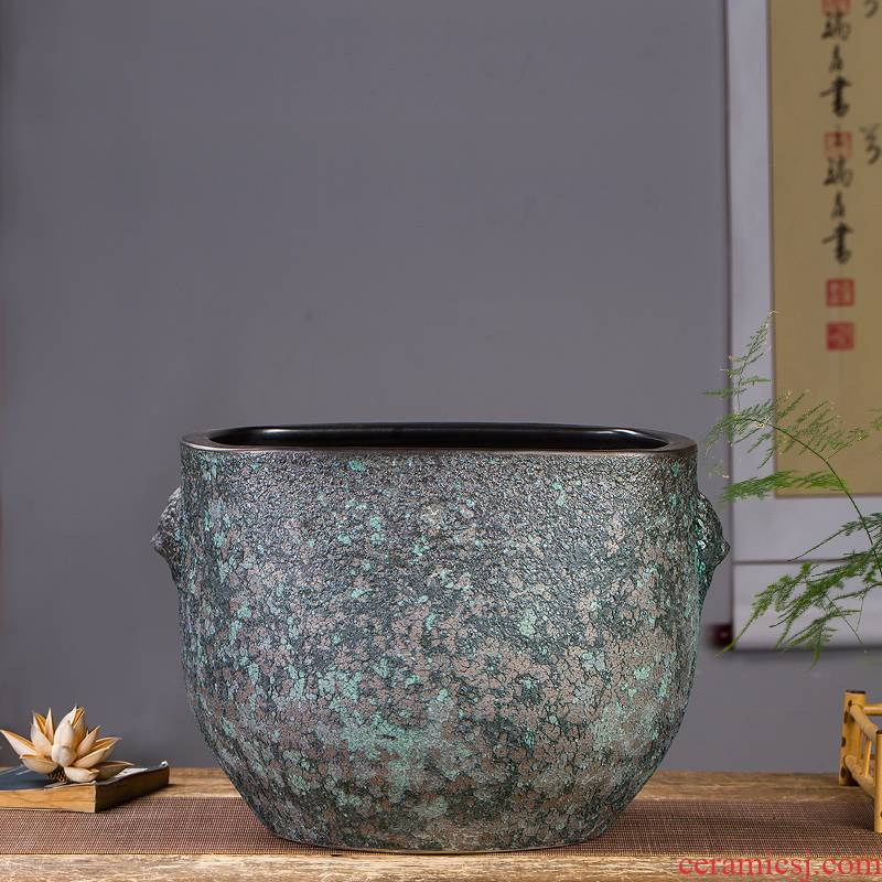 Archaize of jingdezhen ceramics up ears aquarium home sitting room adornment is placed aquarium calligraphy and painting the receive a barrel
