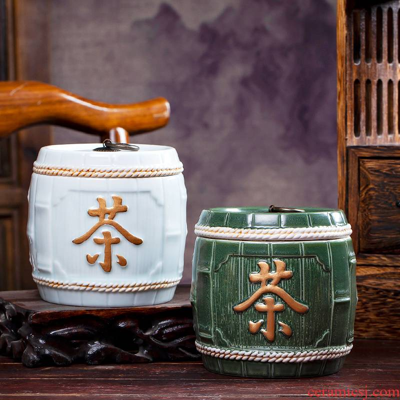 Jingdezhen ceramics hand - carved seal caddy fixings storage tank is Chinese style living room decoration