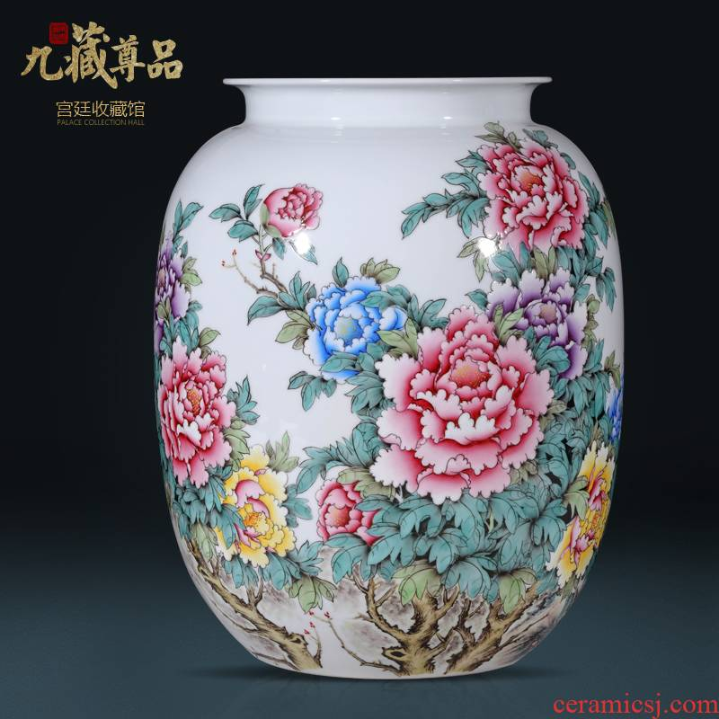 Jingdezhen ceramics hand - made pastel peony vases, new Chinese style living room TV ark, flower arranging porch is decorated furnishing articles