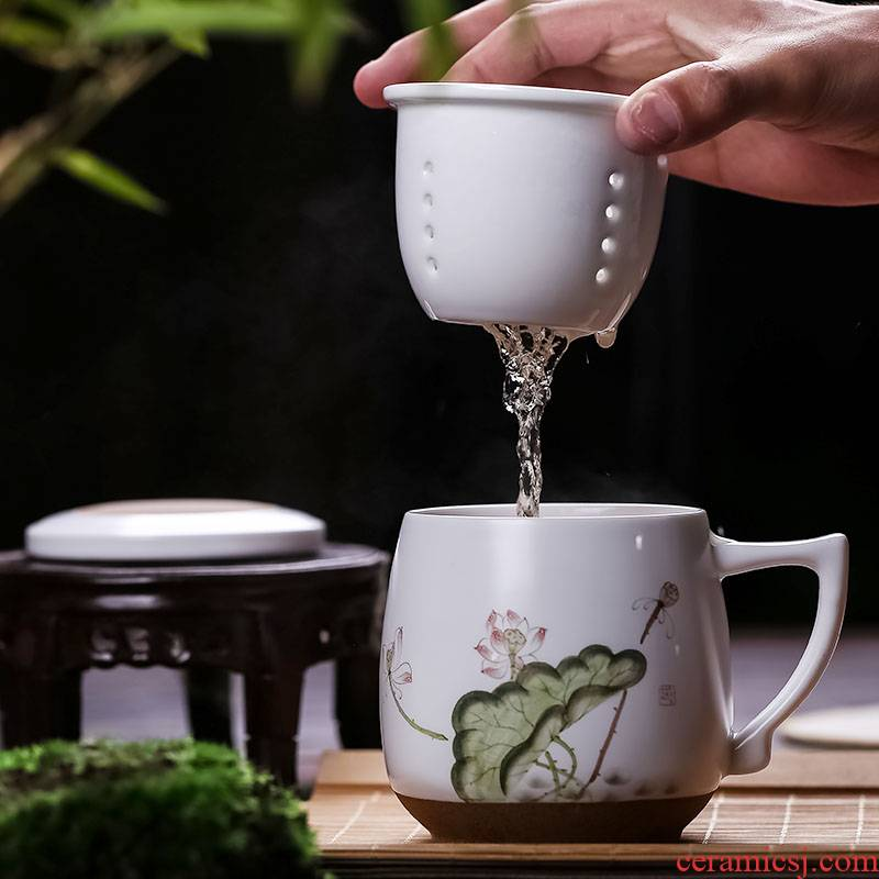 Catalpa xin jingdezhen ceramic filter cups with cover tea cup hand - made office cup mugs with personal cup
