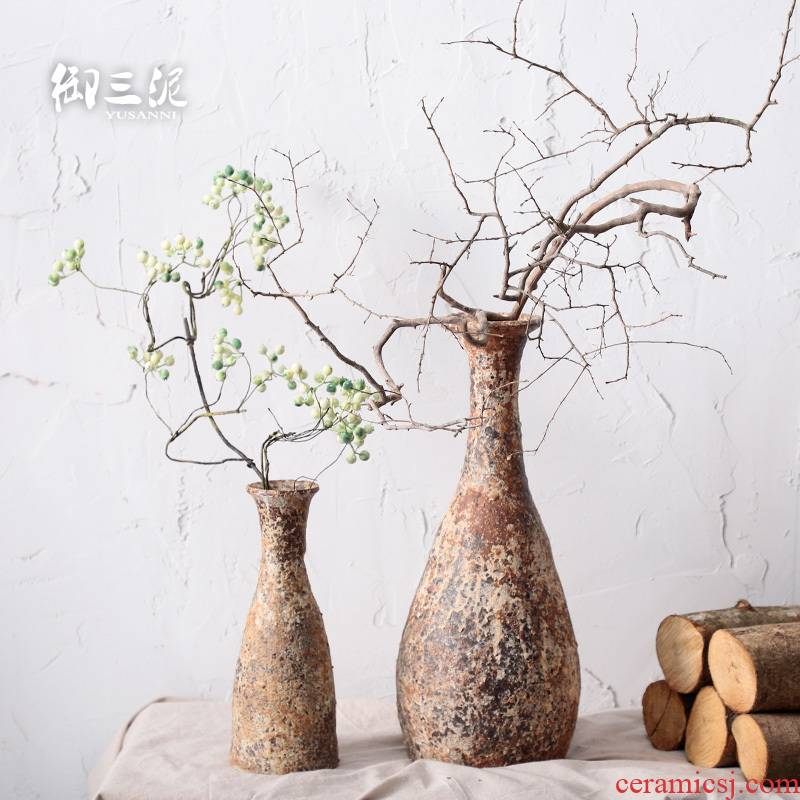 Put dry flower adornment furnishing articles teahouse rural ceramic manual small incision zen floral retro thick clay pottery vase