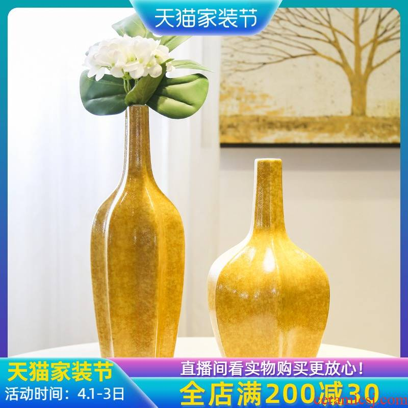 Jingdezhen ceramic new Chinese style mesa small expressions using vase simulation flower art flower arranging furnishing articles porch is decorated living room table