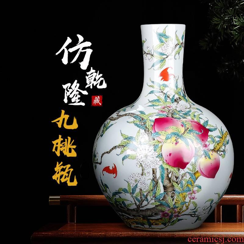 Jingdezhen ceramics vase large sitting room place flower arrangement of Chinese style restoring ancient ways home wine TV ark, adornment
