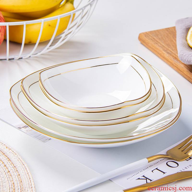 Is rhyme jingdezhen ceramic tableware plate triangle salad plate ipads China 0 fruit the up phnom penh abnormity pasta dishes
