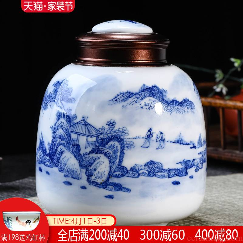 Jingdezhen ceramics hand - made caddy fixings seal pot POTS with cover moistureproof household storage tanks trumpet half jins