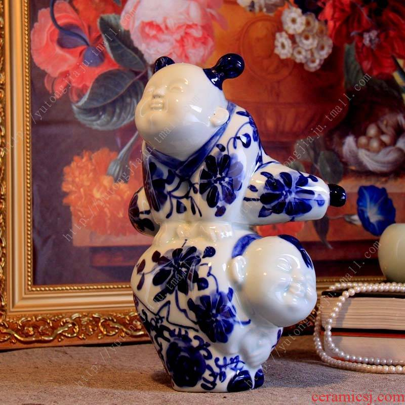 The rain tong home | jingdezhen ceramics craft its - {} vault furnishing articles childhood memories of blue and white porcelain doll