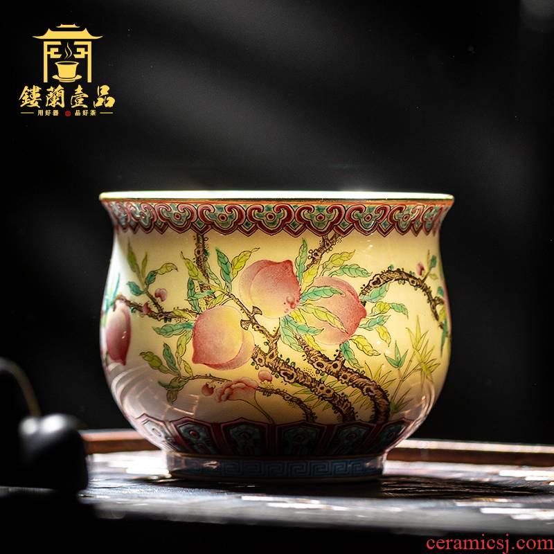 Jingdezhen ceramics all hand pastel live live peach master cup hand - made kunfu tea tea cup single CPU