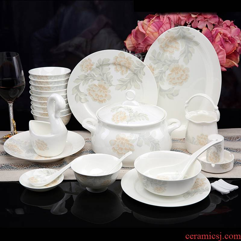 High - grade glair elegant aristocratic dishes ipads porcelain tableware jingdezhen ceramic bowl dish 56 head of household gift set