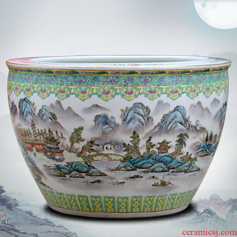 Jingdezhen hand - made landscape painting ceramic goldfish turtle cylinder painting and calligraphy study of sitting room place, a large water lily cylinder