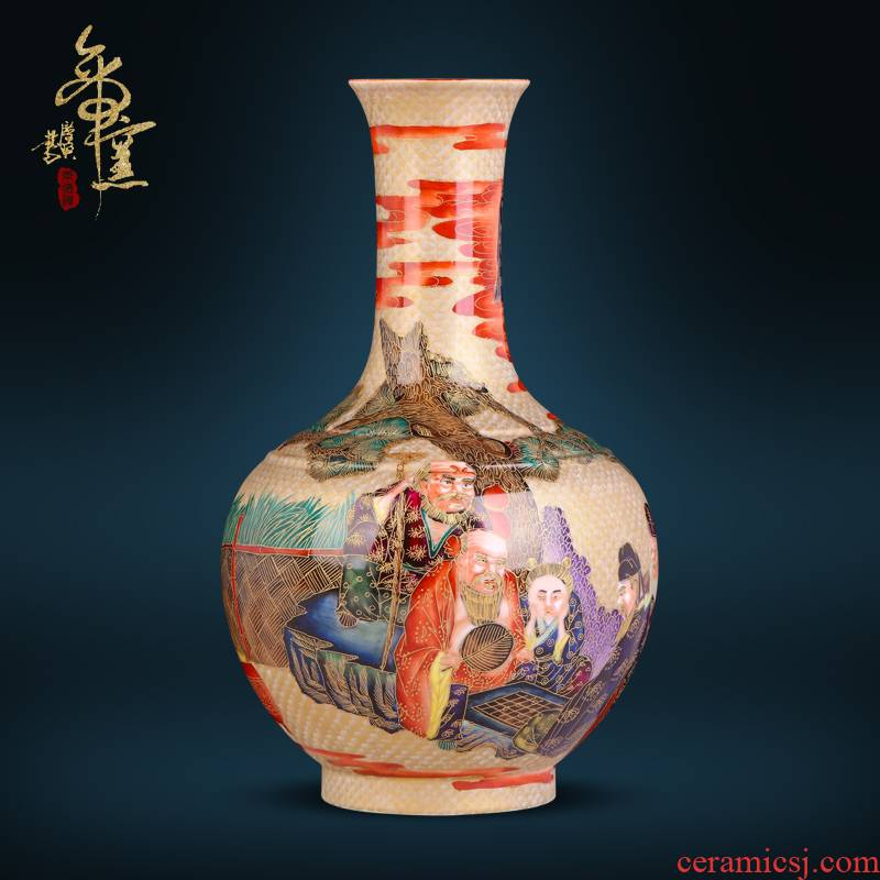 Jingdezhen ceramics imitation the qing qianlong hand - made wire inlay the eight immortals enamel vase of Chinese style living room porch place
