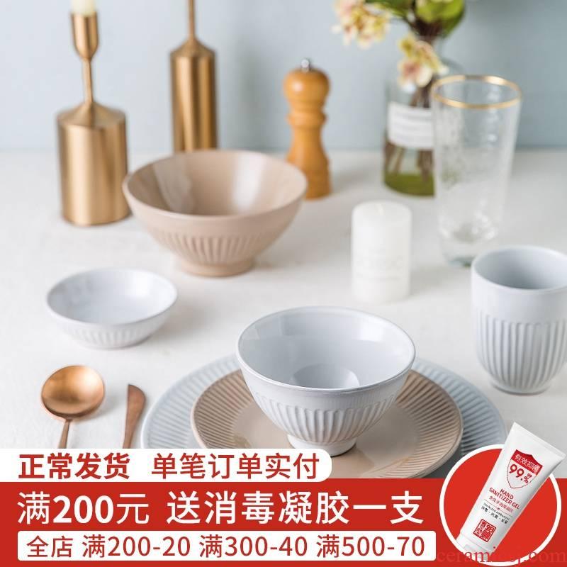 Jian Lin household tableware ceramic bowl rainbow such always eating salad bowl western food steak plate of San Diego